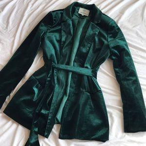 Velvet Green Blazer // Missguided